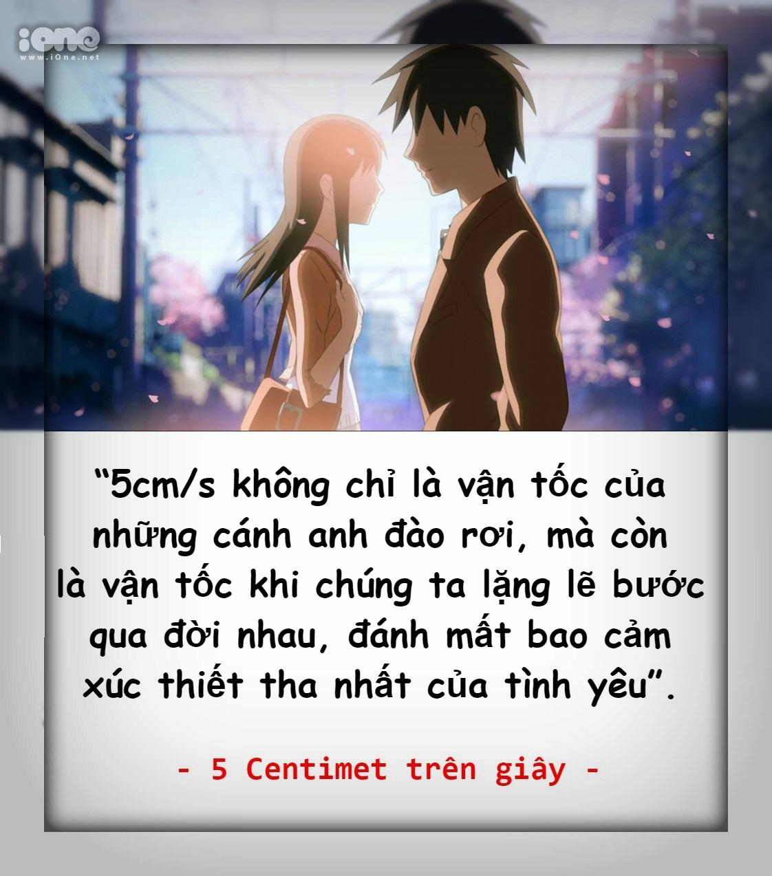 5 Centimet trên giây là một phim anime do hãng CoMix Wave thực hiện. Bộ phim được công chiếu lần đầu vào ngày 3/3/2007 và gây nên cơn sốt màn ảnh toàn thế ...